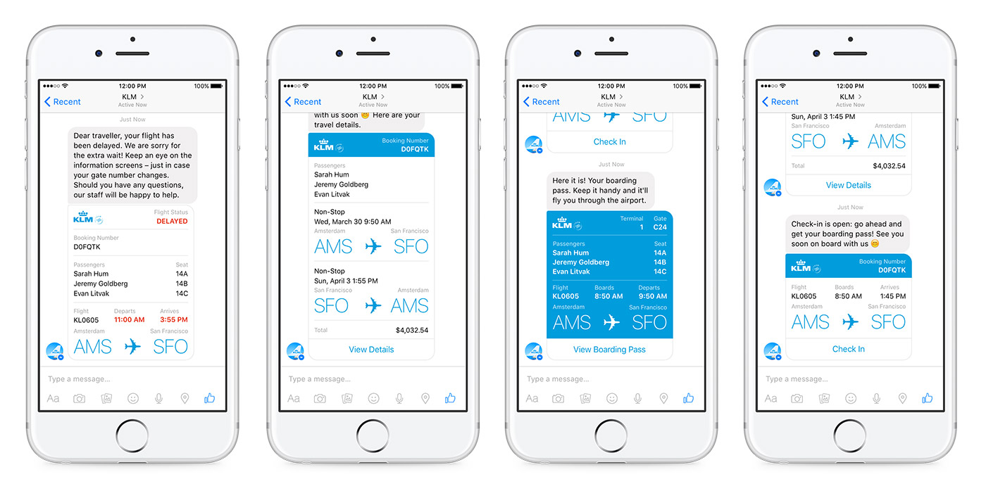 KLM Royal Dutch Airlines customers can get their info right within the Facebook Messenger app